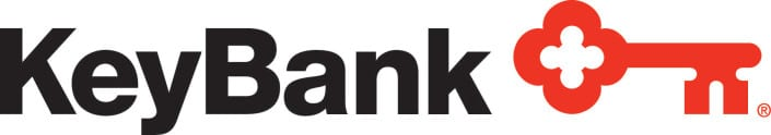 KeyBank logo, black text with red key