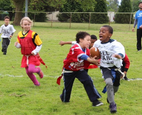 BGCP youth playing Flag Football