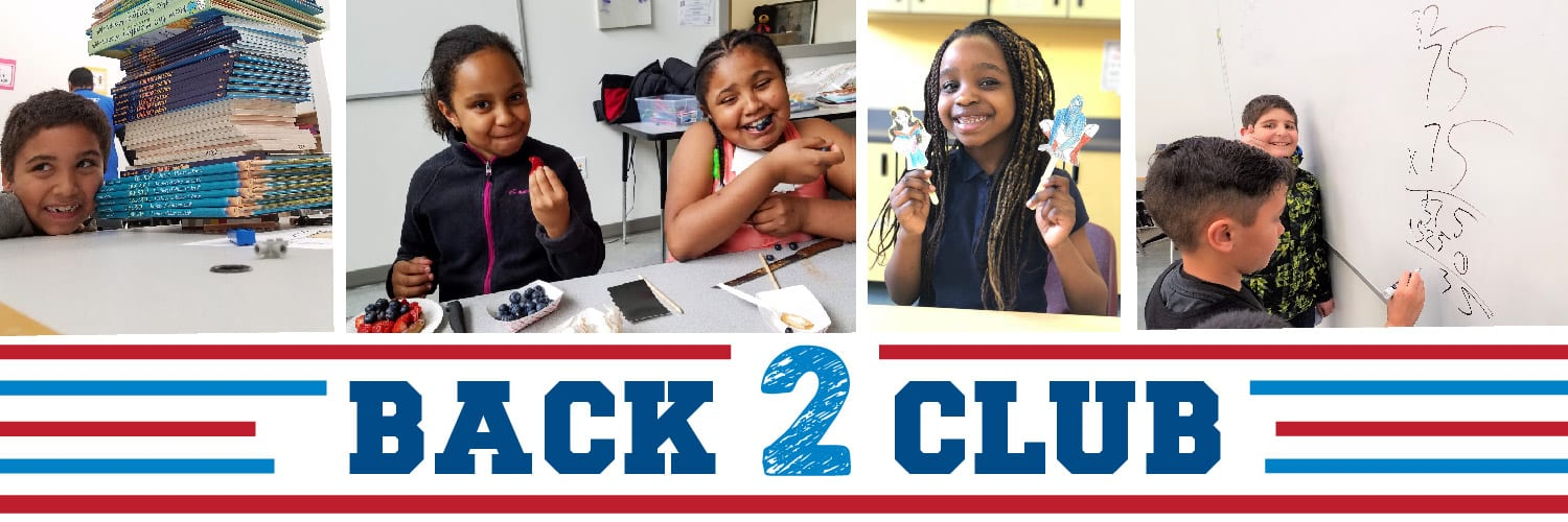 """Back to Club"" campaign image with children expressing themselves through the arts, eating healthy snacks, and having fun with reading and math activities"