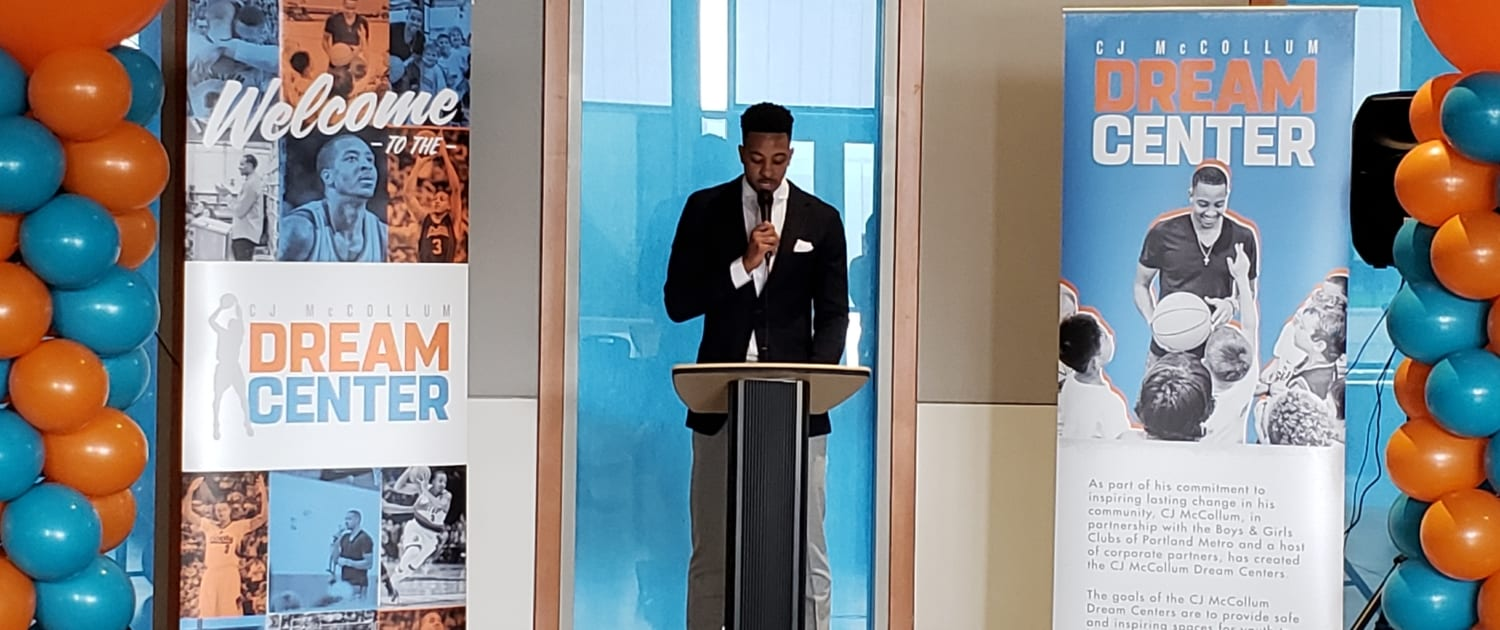 CJ McCollum speaks at Dream Center opening at the Rockwood Club